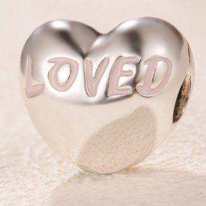 Loved Script Heart Clip Charm